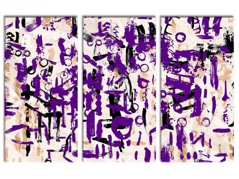 Tableau toile triptyque moderne déco SIGNES
