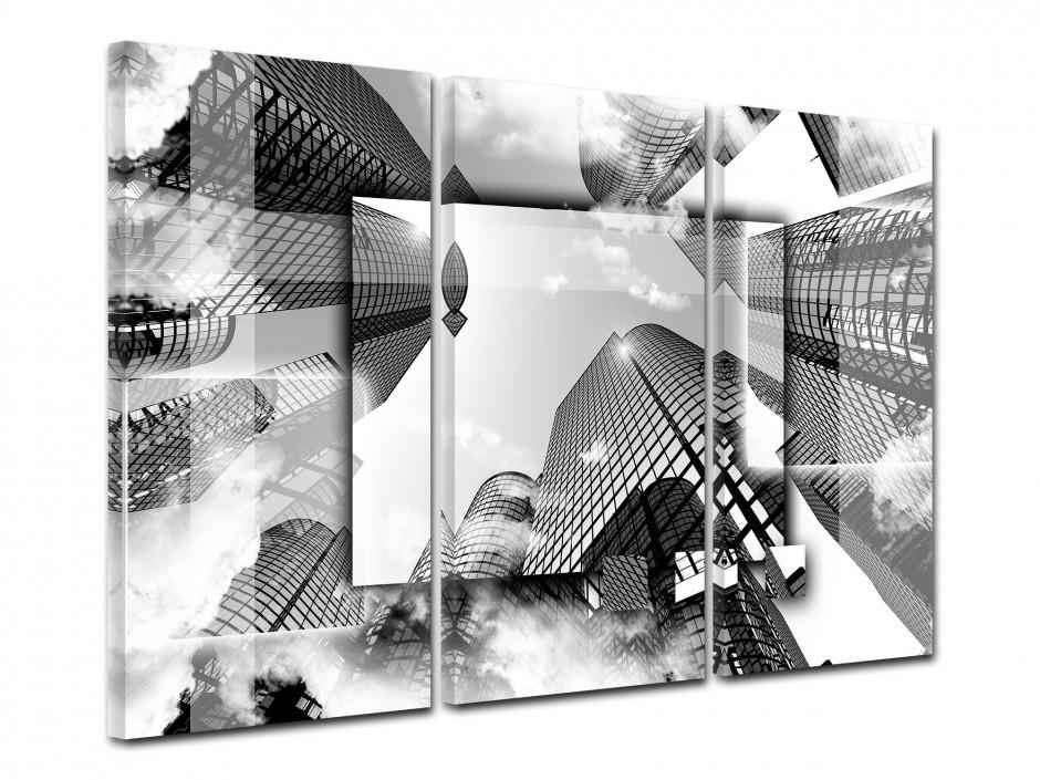Tableau toile triptyque design GRATTE-CIEL