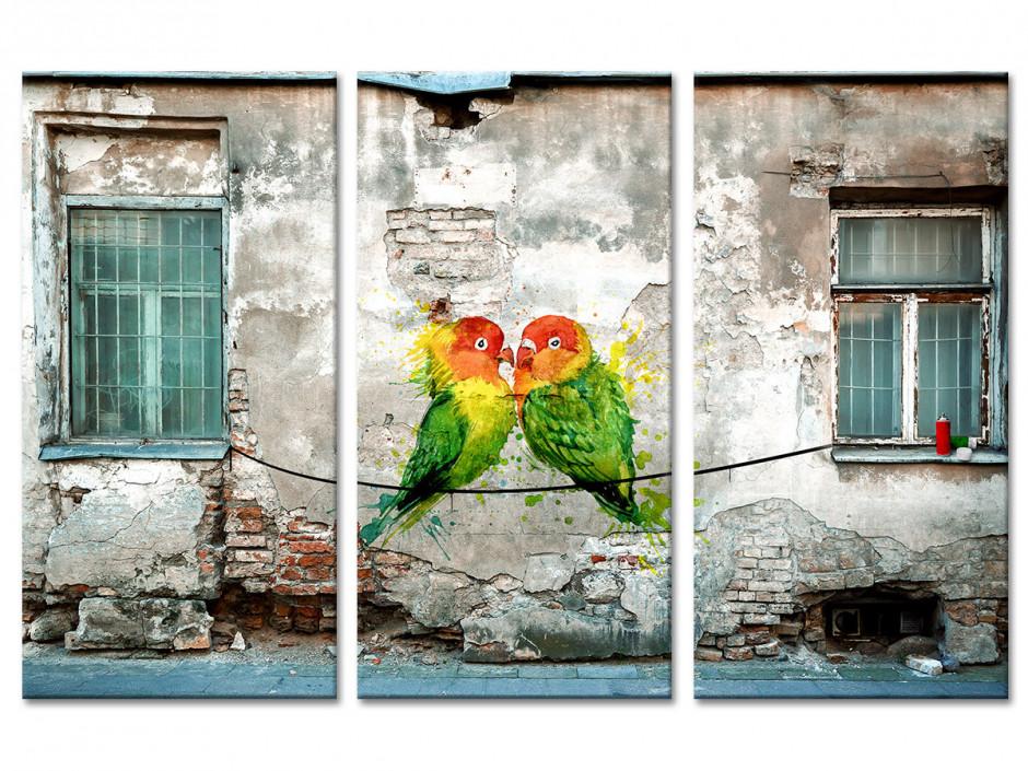 Tableau toile triptyque graffiti COUPLE DE PERRUCHES