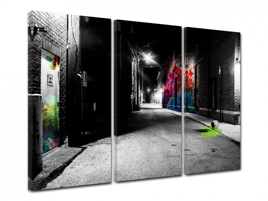 Tableau toile triptyque moderne ART DE RUE BY NIGHT