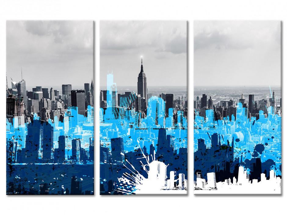Tableau toile triptyque déco NEW YORK ET GRAPHISME