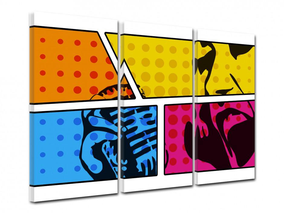 Tableau toile triptyque déco POP ART