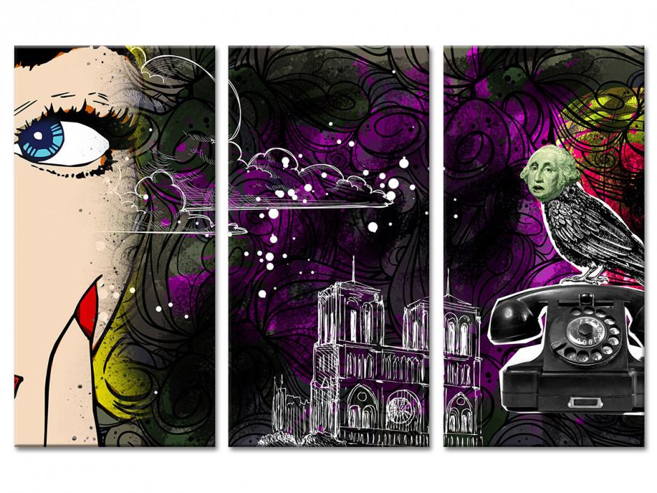 Tableau toile triptyque pop art DRING