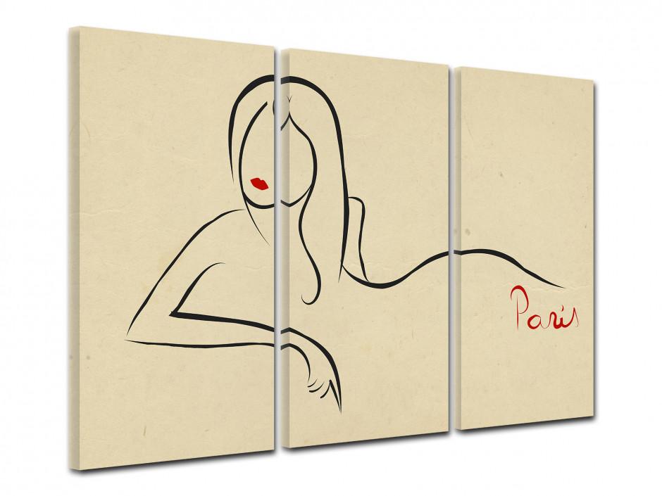 Tableau toile triptyque vintage SILHOUETTE FEMME