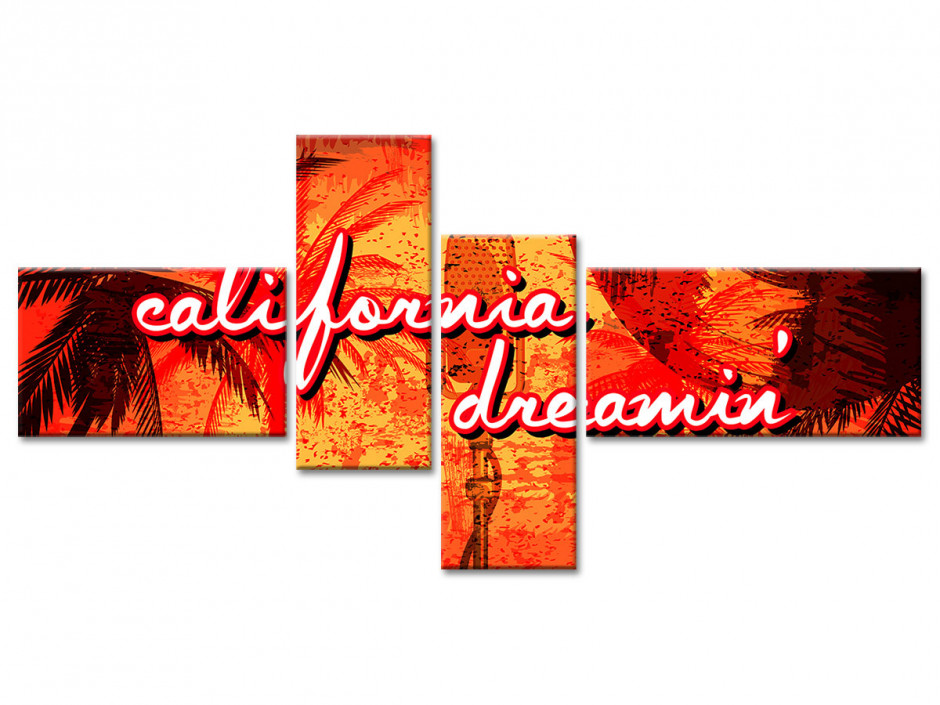 Tableau toile deco vintage CALIFORNIA DREAM