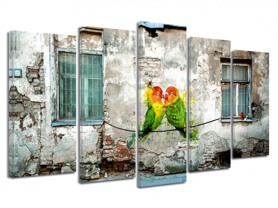 Tableau toile urbain PERRUCHES ET ART DE RUE