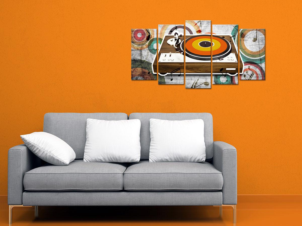 Tableau toile vintage tourne disque 5 panneaux - Déco murale XXL