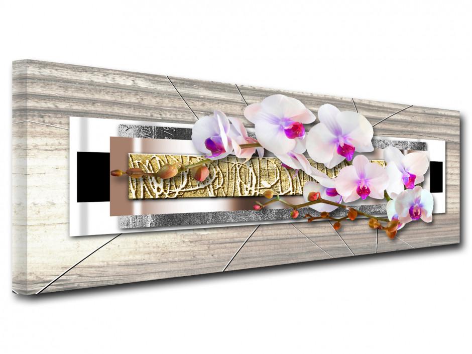 Tableau toile panoramique deco ZEN ORCHIDÉES
