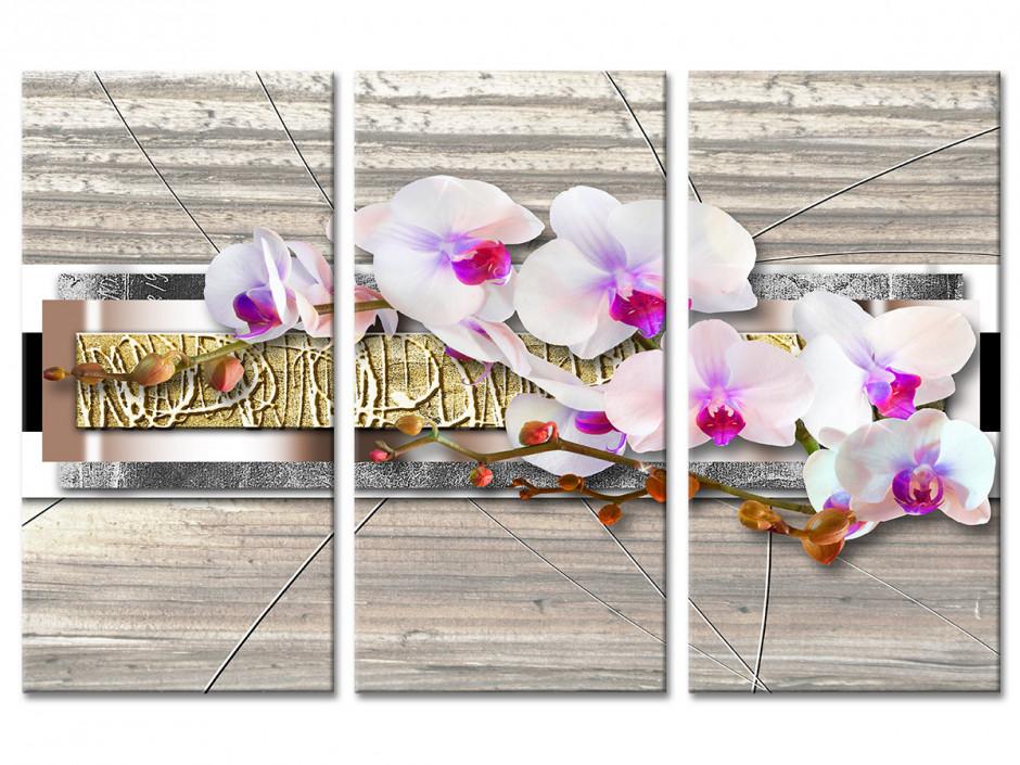 Tableau toile triptyque zen ORCHIDÉES BLANCHES