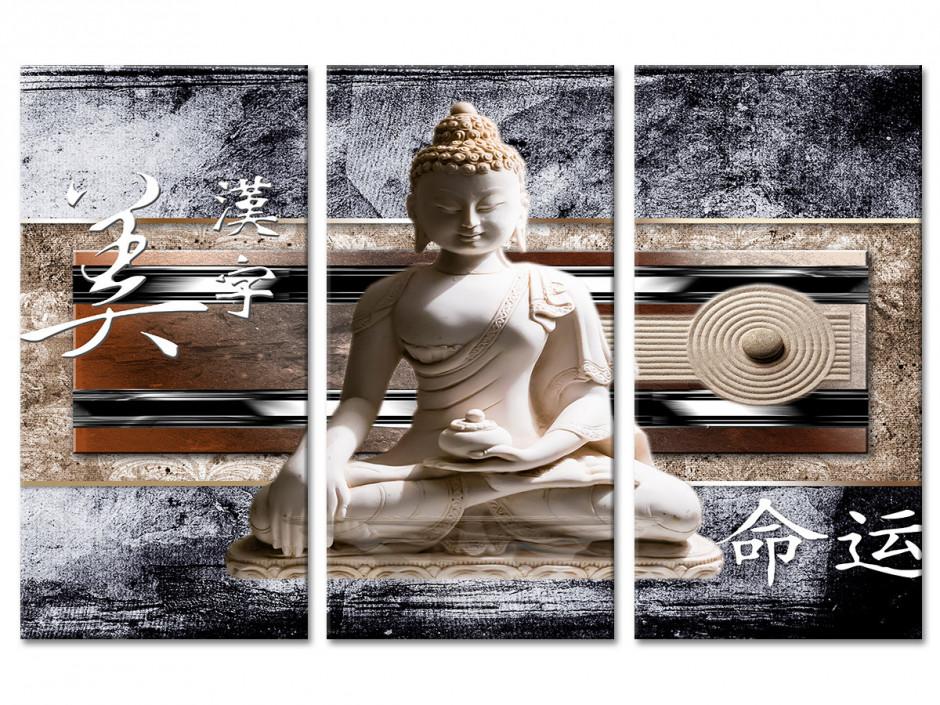 Tableau toile triptyque bouddha AMBIANCE JAPONISANTE