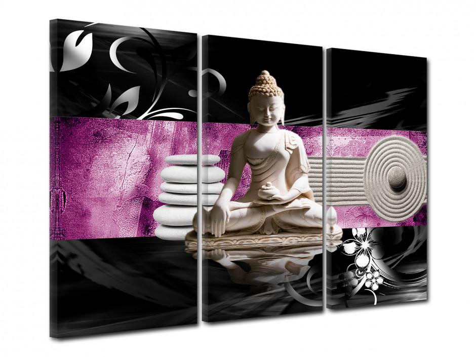 Tableau toile triptyque zen BOUDDHA MÉDITATION