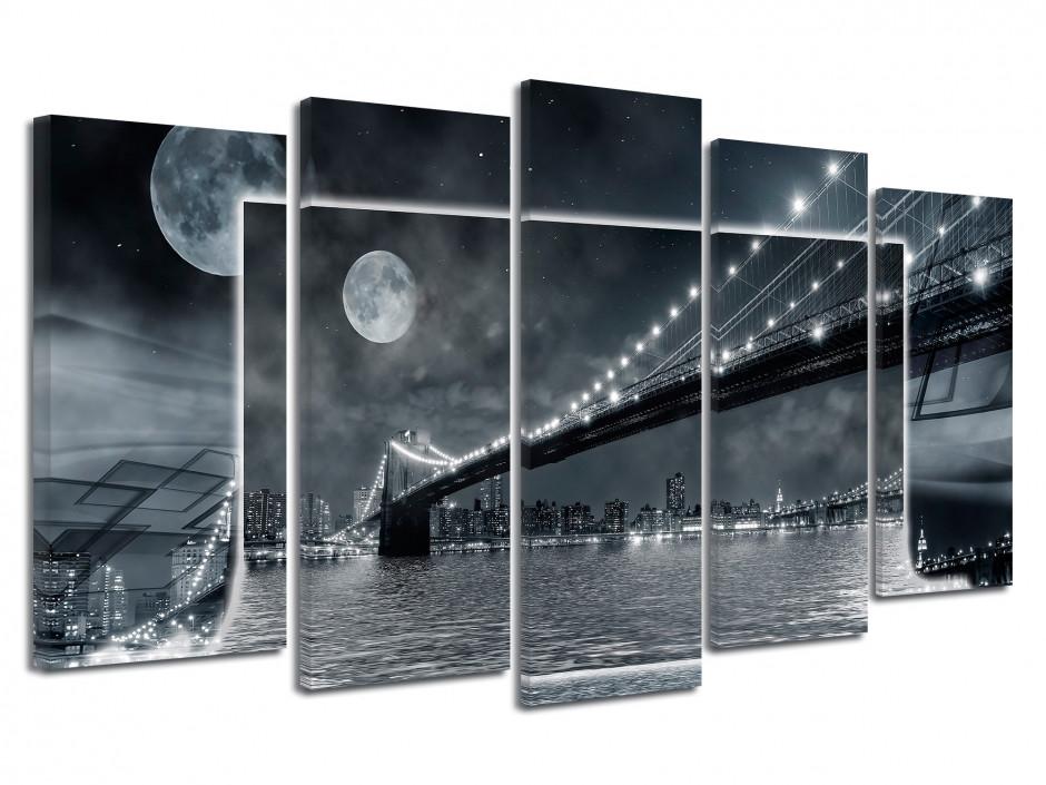Cadre déco noir et blanc Pont de Brooklyn