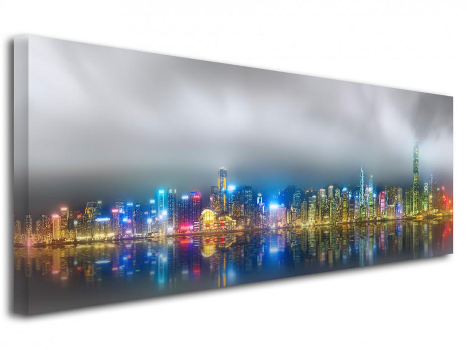 Tableau toile deco Hong Kong de nuit
