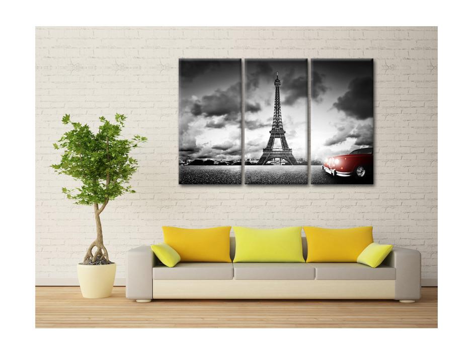 Tableau deco triptyque Tour Eiffel