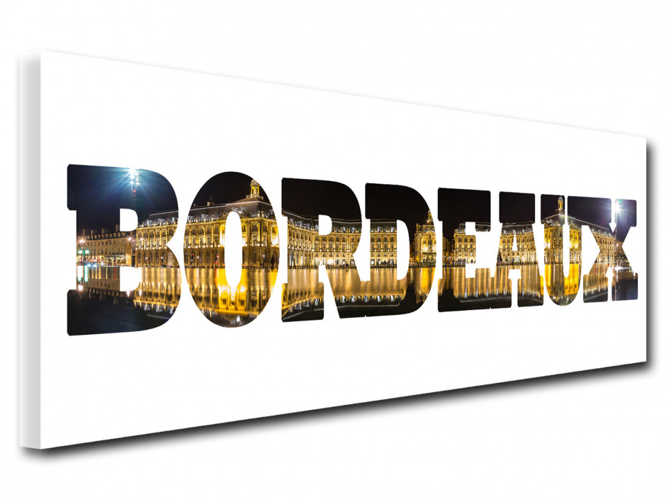 Tableau toile deco lettrage Bordeaux