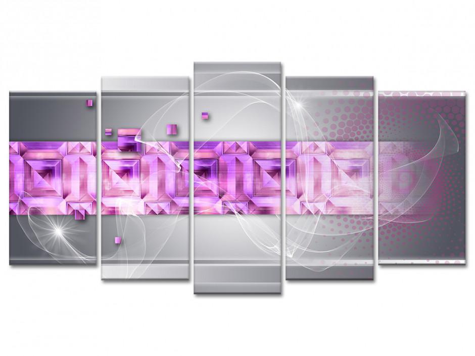Tableau abstrait violet en 5 panneaux